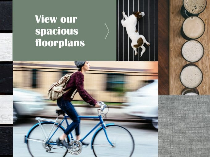a person rides by on a bicycle in this montage of images representing the button to view floorplans