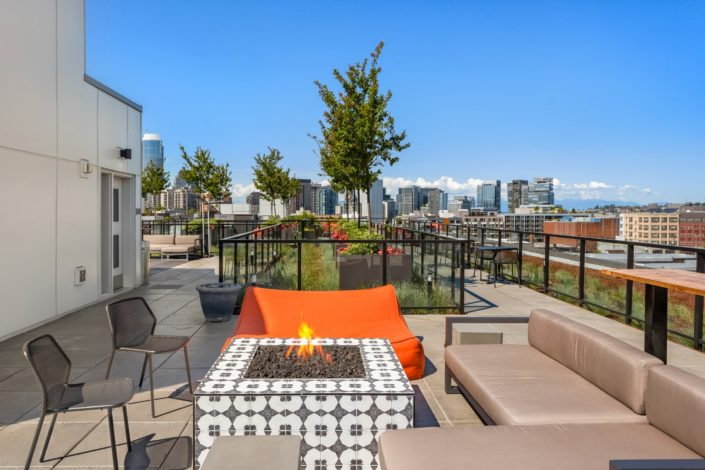 Fireplace upon a rooftop patio in Seattle