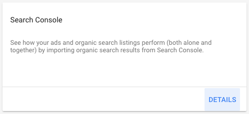Select Search Console in AdWords