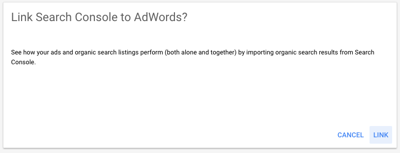 Link Search Console to AdWords