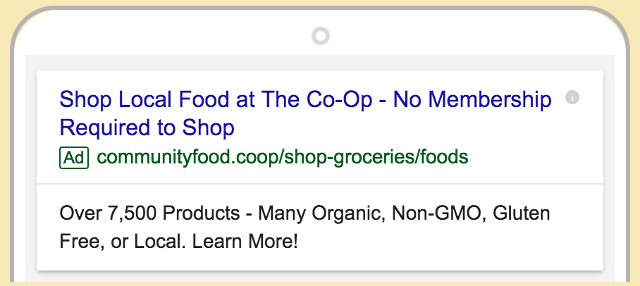 bellingham food co-op google ad screenshot