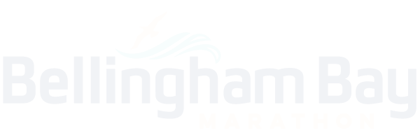 bellingham bay marathon logo in white transparent