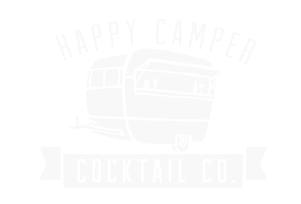 happy camper cocktails logo in white transparent