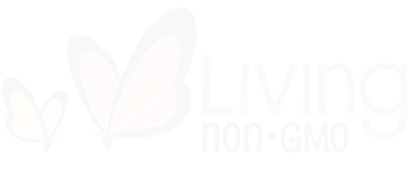 Living Non-GMO logo in white transparent