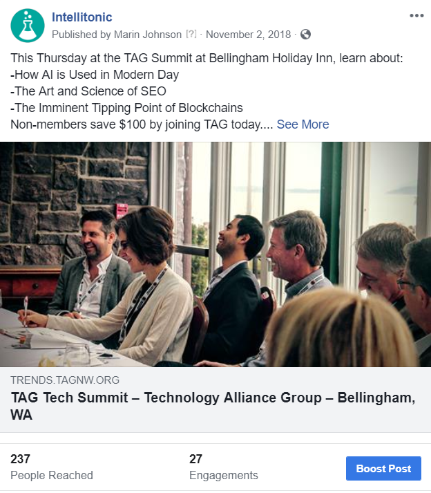 TAG Tech Summit 2018 Intellitonic Facebook post