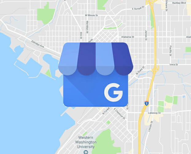 Google My Business Icon with Map Behind it