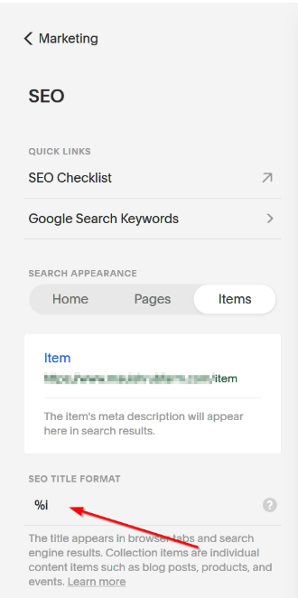 change SEO title format in Squarespace to add SEO titles to product pages