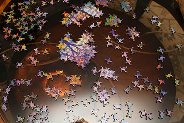 A hard puzzle laid out on a table
