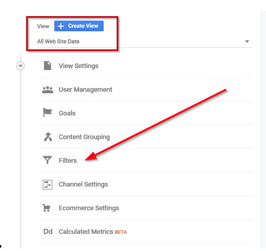 How to find filters in google analytics picture with a red arrow