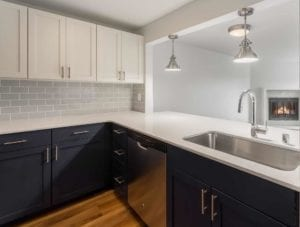 New cabinets and countertops in the Eden apartment kitchen.