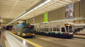 Seattle light rail and metro transit bus underground