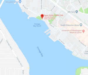 Aqua Verde Paddle Club marked on a map