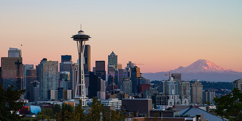 seattle skyline at dusk with sunset, space needle, Mt Rainier