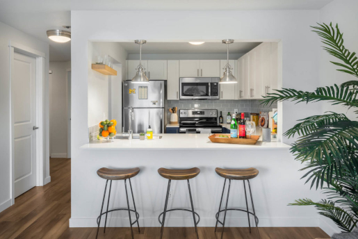 apartment kitchen with breakfast bar and bright lighting