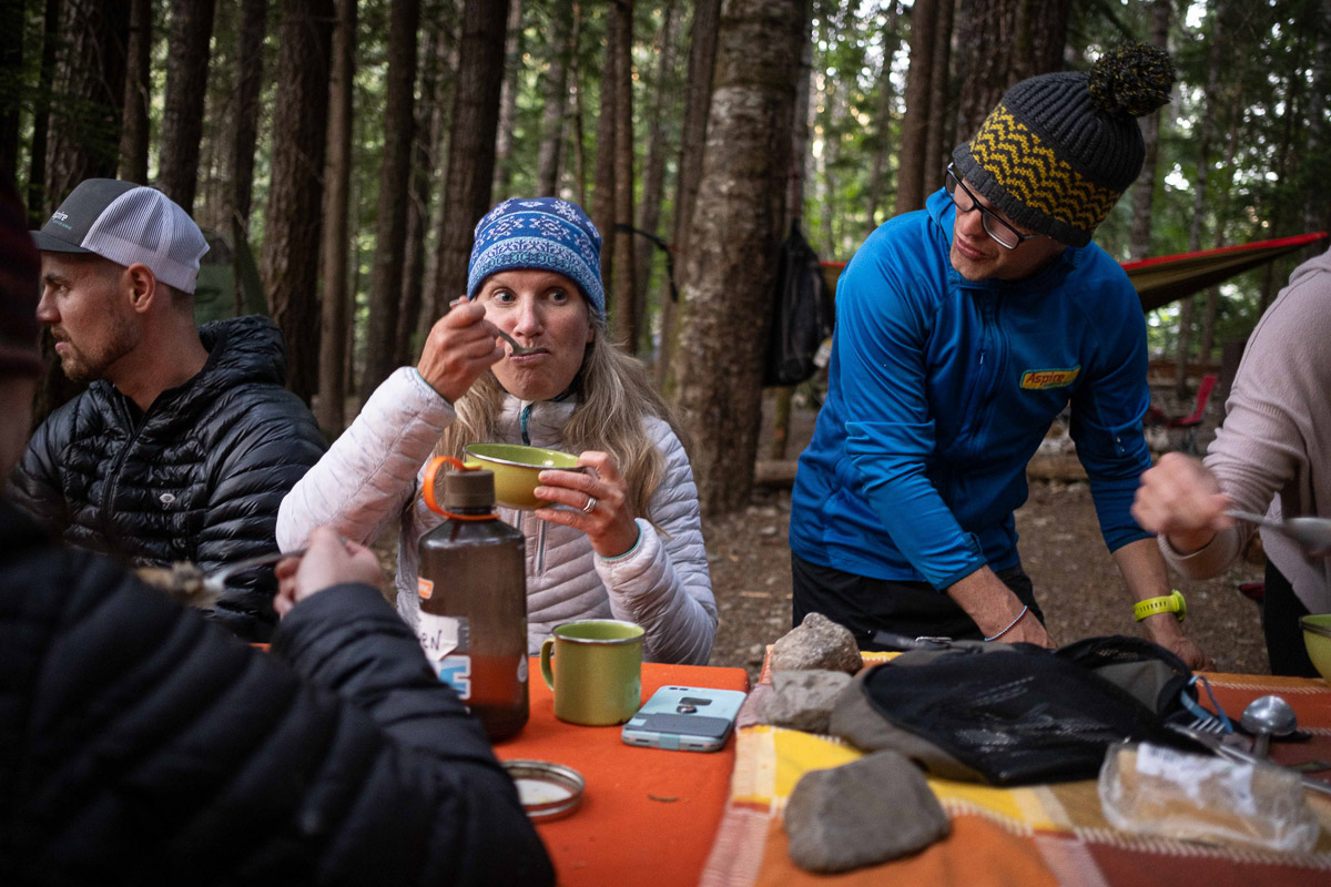 eating dinner in camp, north cascades national park