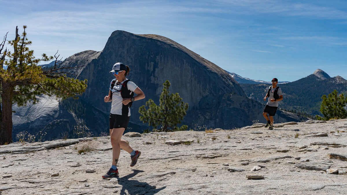 running in Yosemite, half-dome