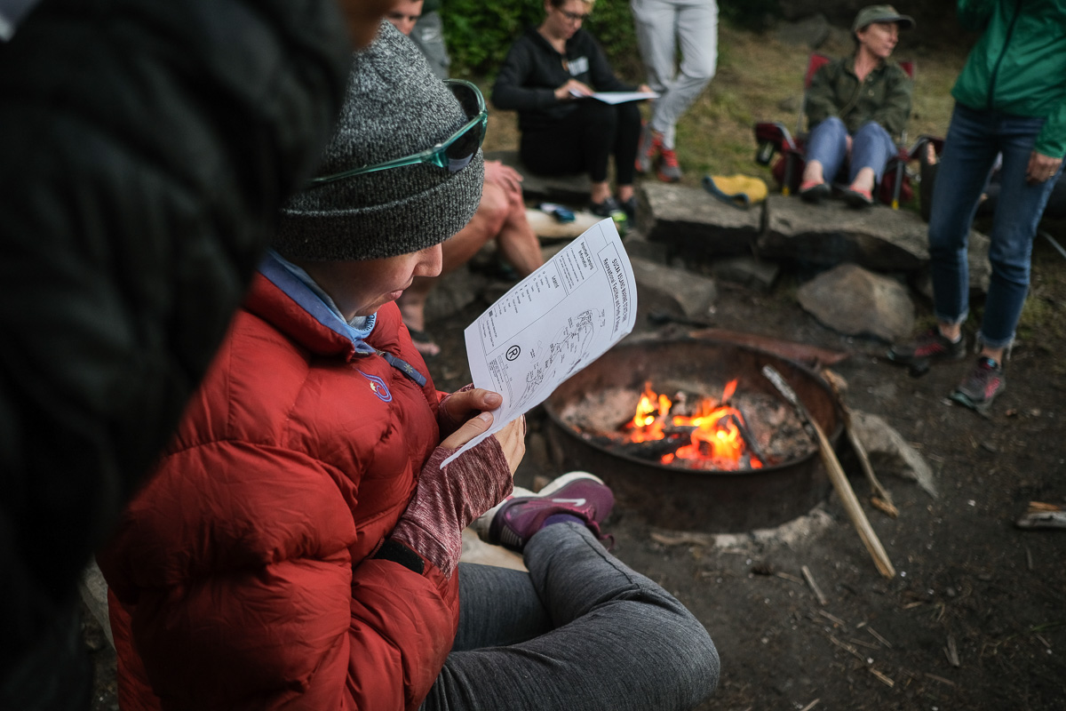 a person reviews a map by the campfire