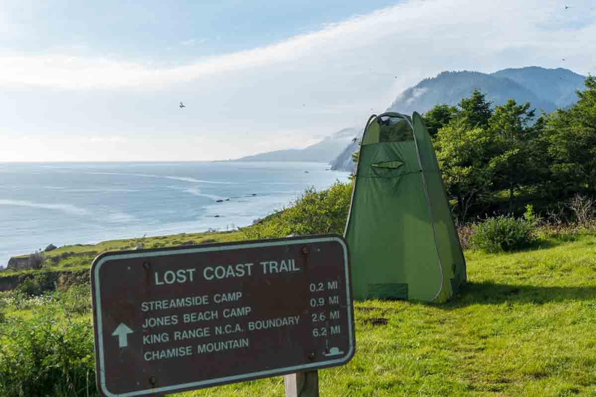 camp shower while trail running on the Lost Coast in California