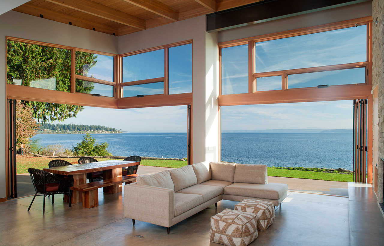 Bainbridge Island Retreat, Interior, Doors Open