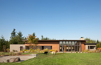Olympia Prairie Home, Exterior, Back Entry - Coates Design Architects - Seattle, WA