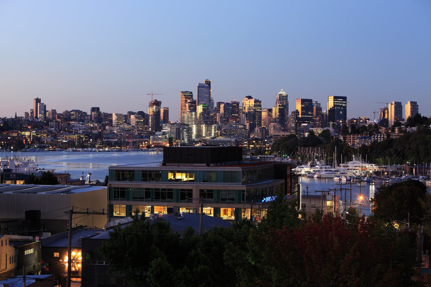 Our Fremont Seattle apartments at dawn with the Seattle skyline in the background