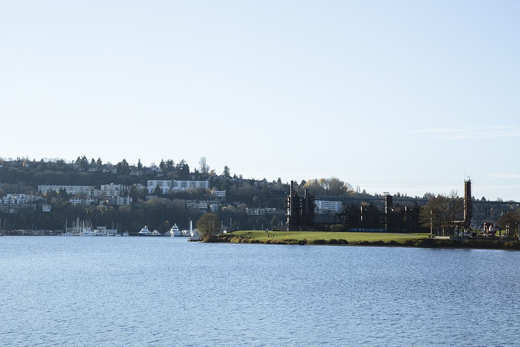 A view of coastline of Lake Union from the water